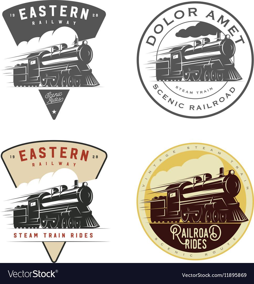 Set vintage retro railroad steam train logos