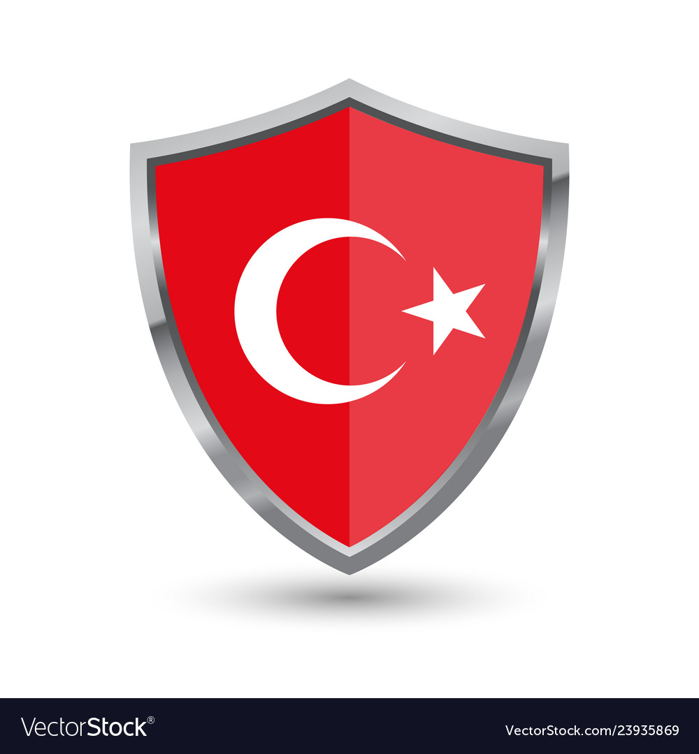Shield with flag of turkey isolated