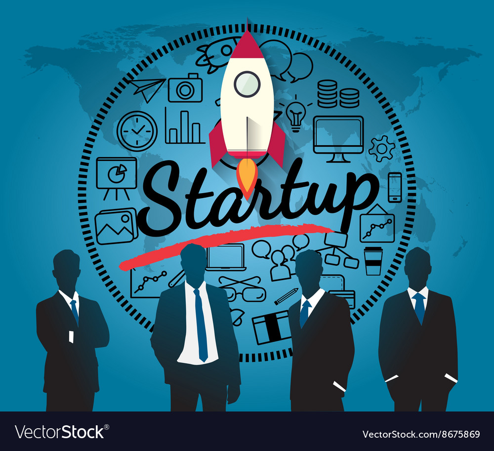 Silhouette people for business startup vector image
