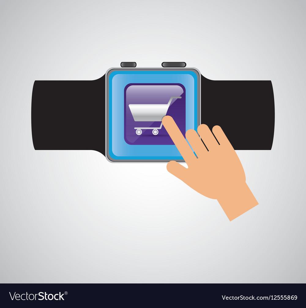Smart watch wearable technology shooping cart