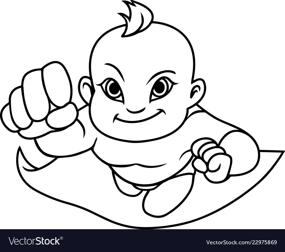 Super baby asian line art