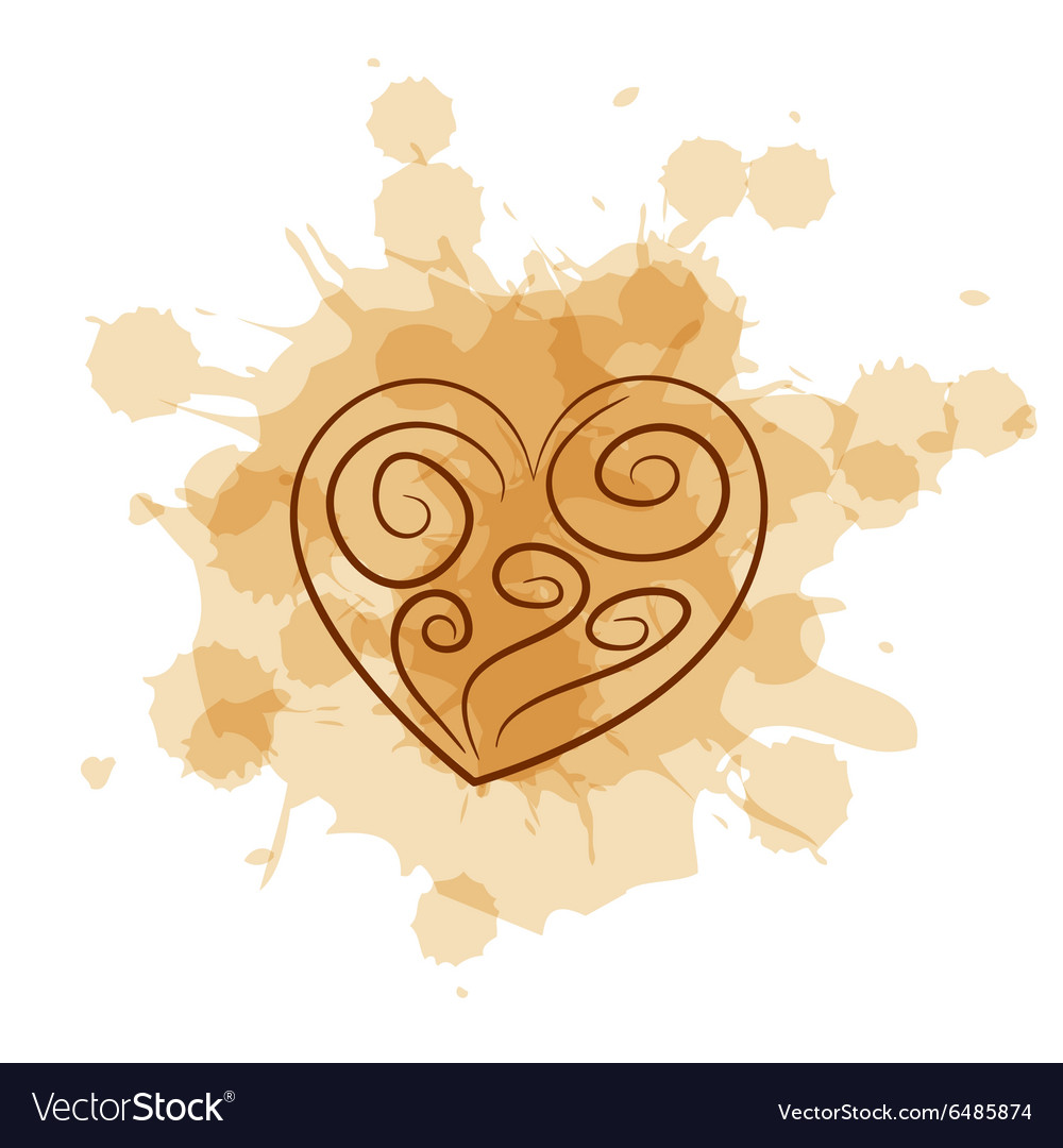 Abstract heart on coffee stain background