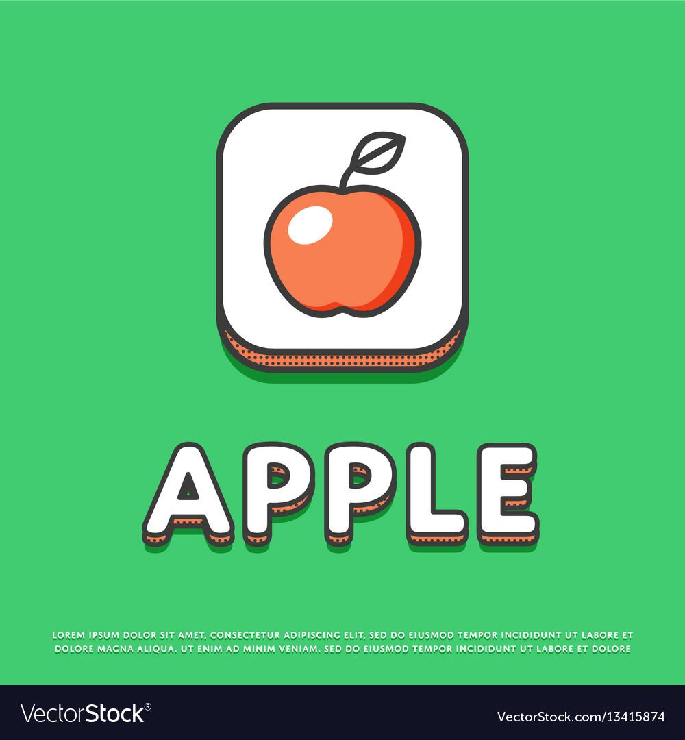 Apple colour icon in line design