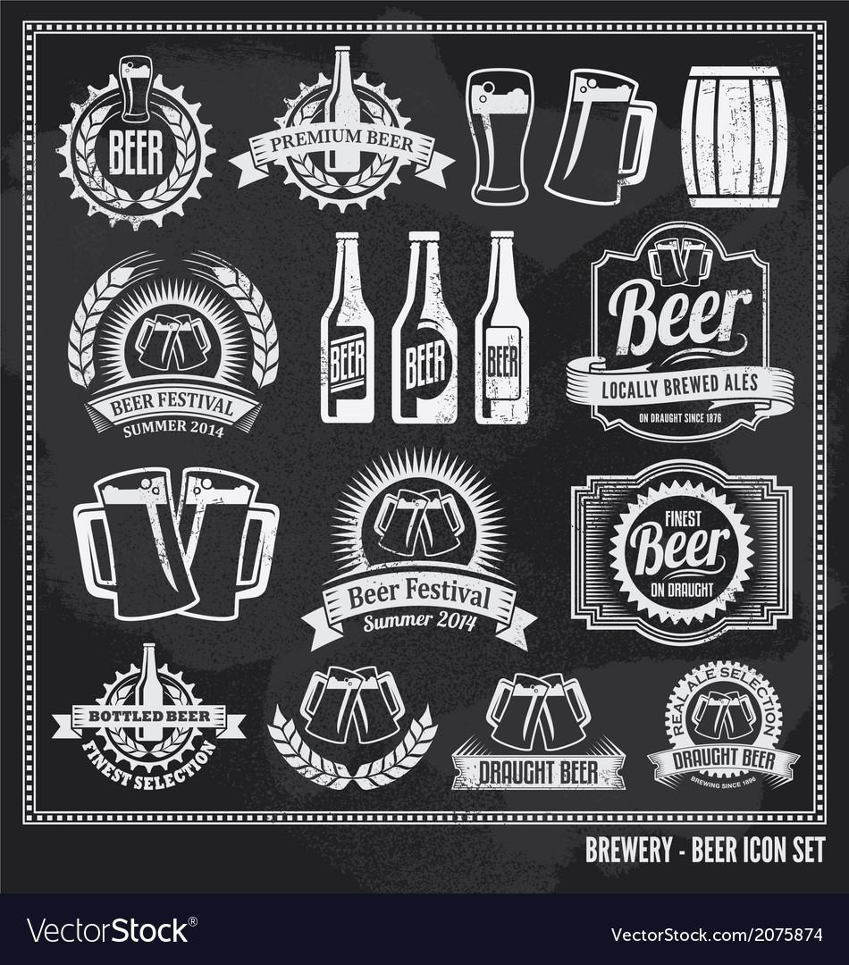Beer chalkboard icon set