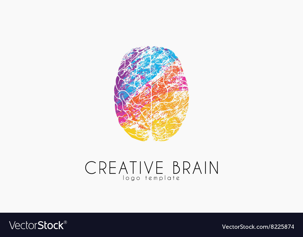 Brain logo Color brain logo design Creative vector image