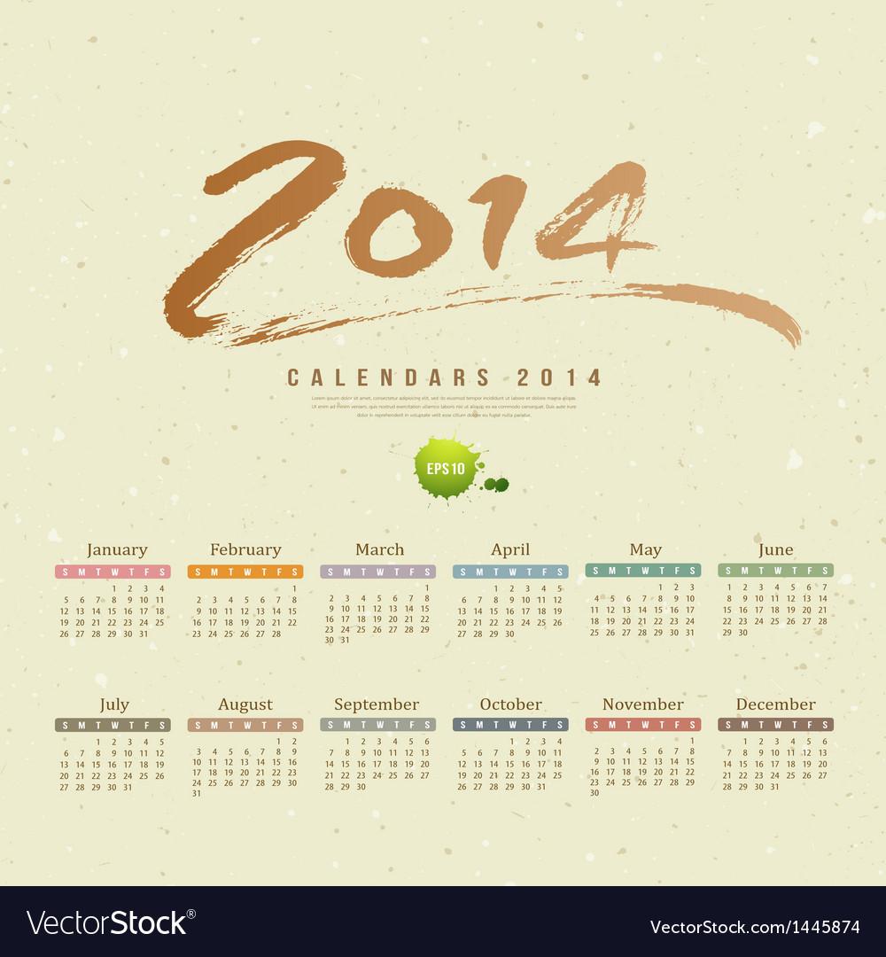 Calendar 2014 text paint brush