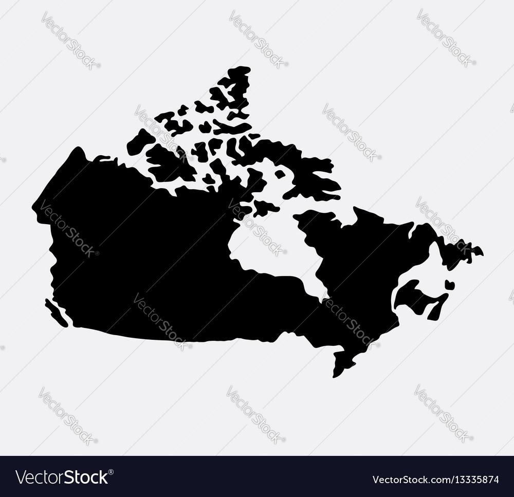 Canada island map silhouette