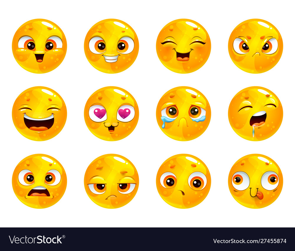 Funny cartoon yellow round faces emoji collection