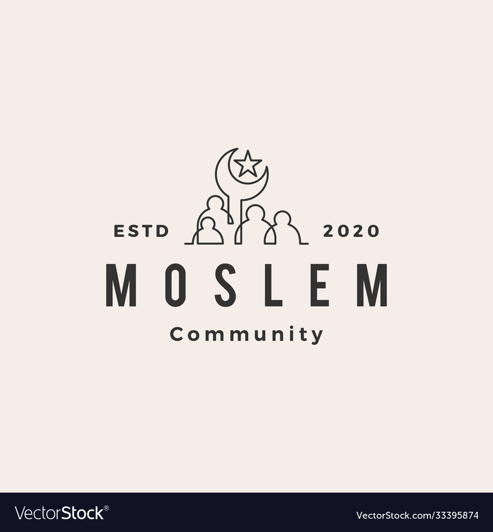 Moslem people community hipster vintage logo icon