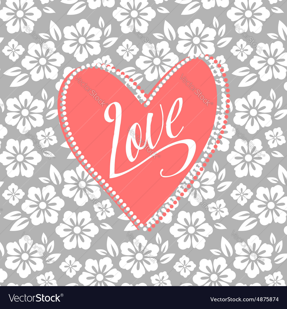 Postcard with turquoise heart on white floral