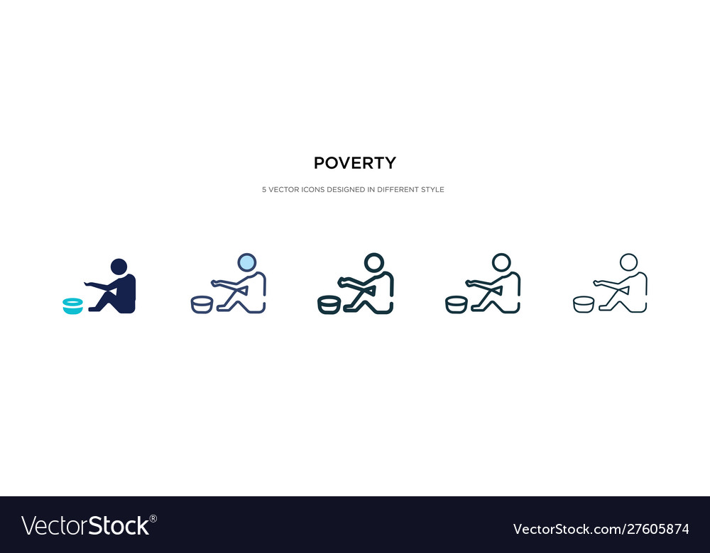 Poverty icon in different style two colored