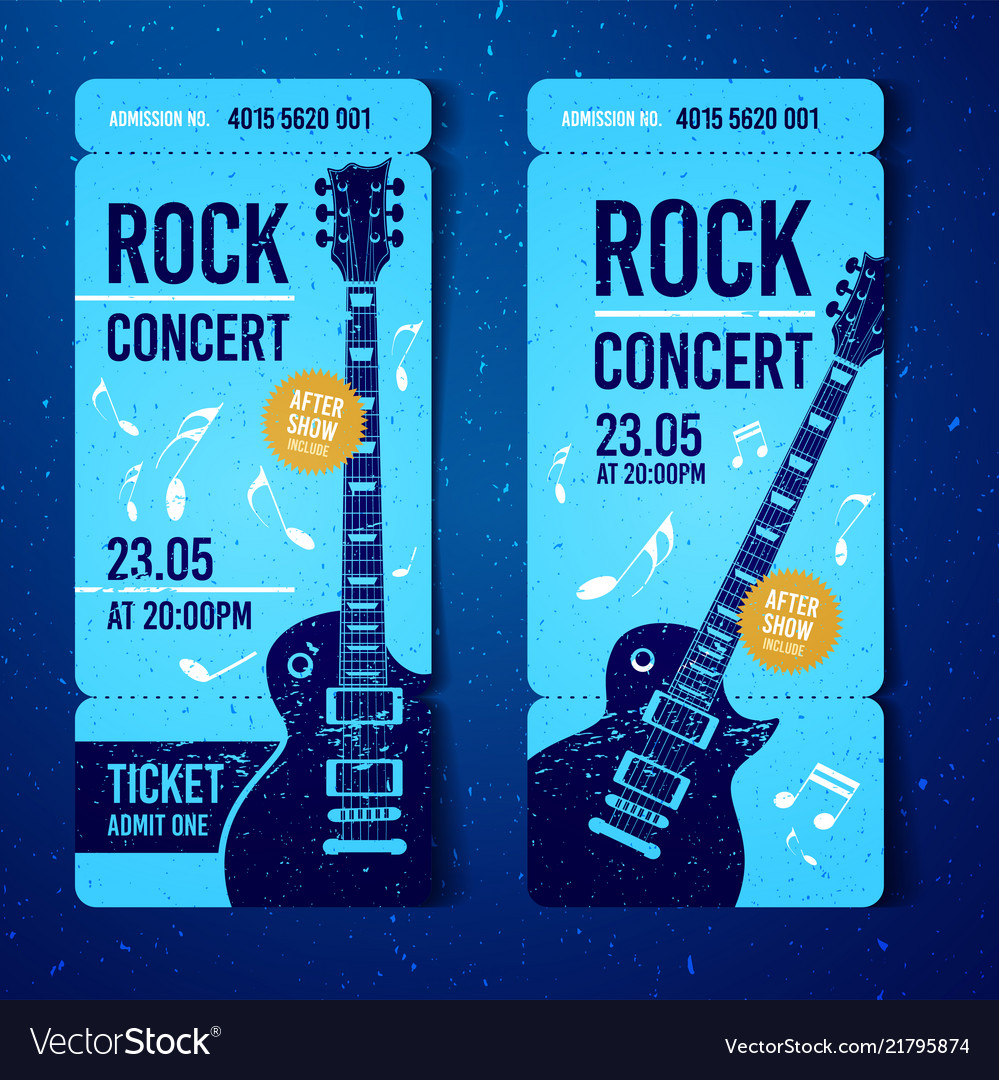 Rock festival ticket design template with guitar