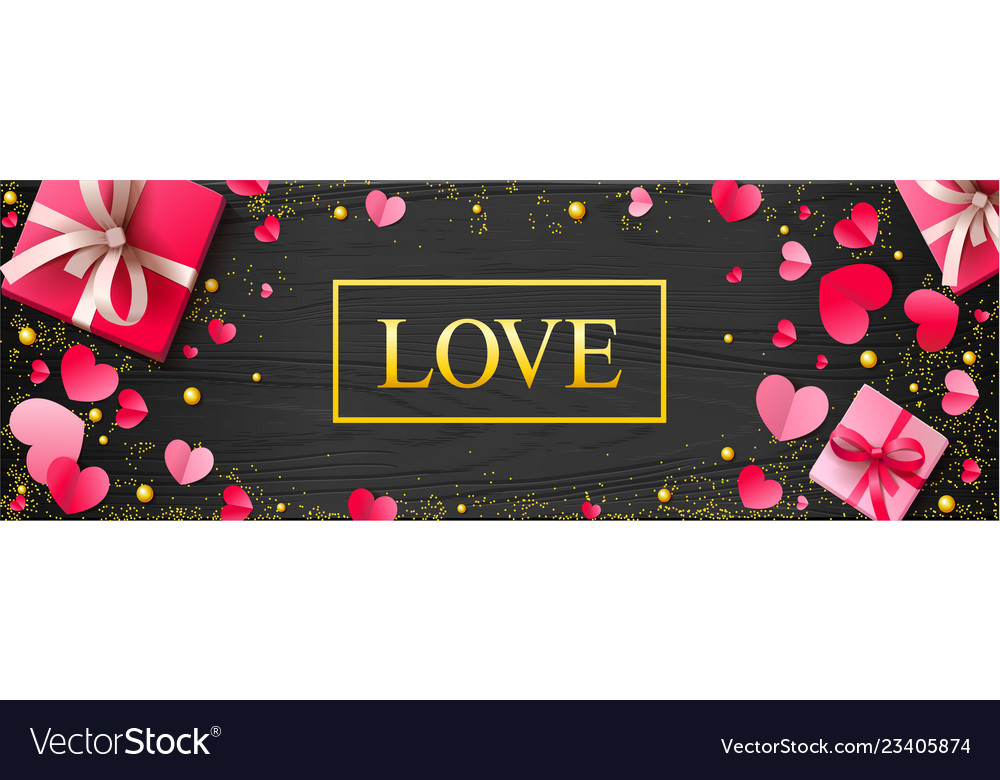 Romantic luxury background with paper hearts and