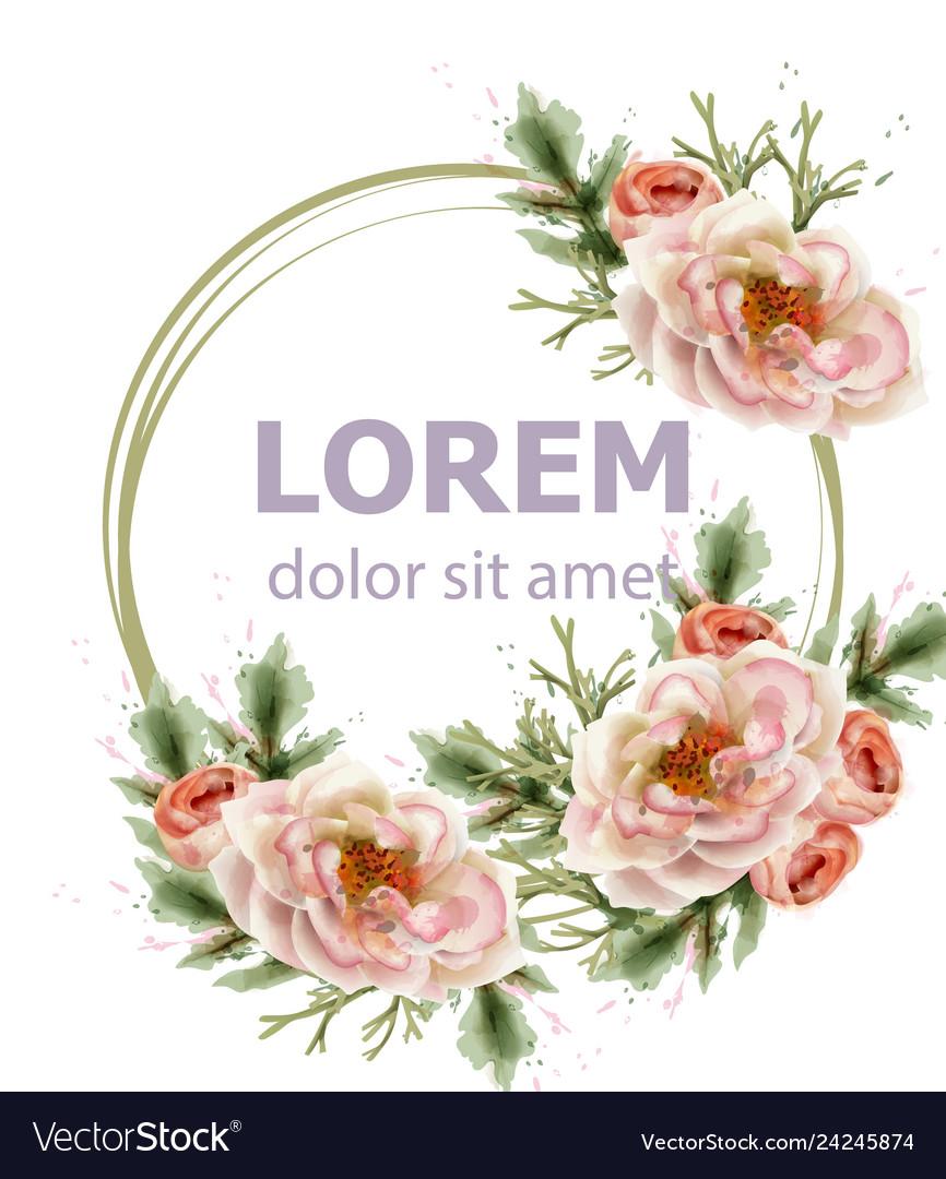 Rose flowers wreath watercolor romantic