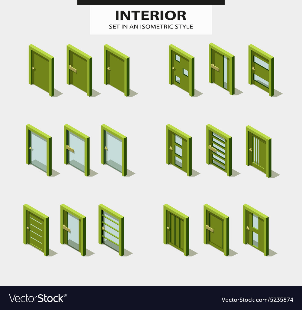 Set of doors in isometric style with design