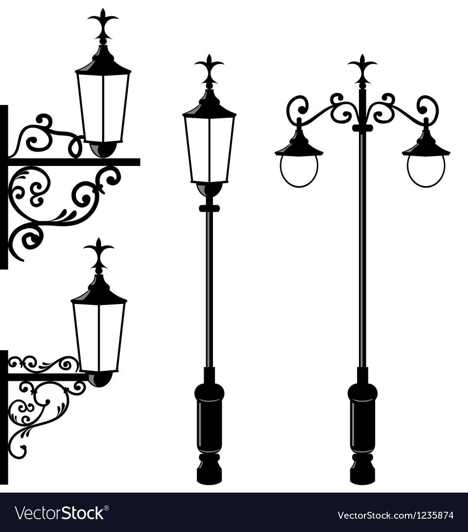 Set of vintage various streetlamp