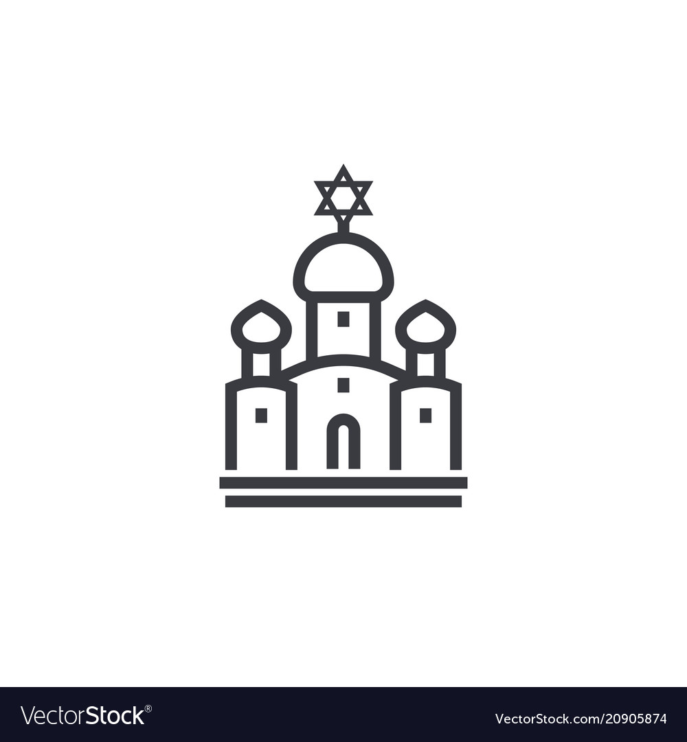 Synagogue line icon on white