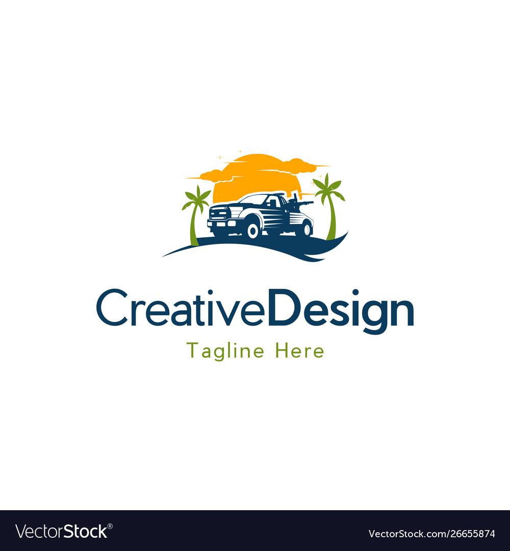 Truck travel vacation creative logo design vector image