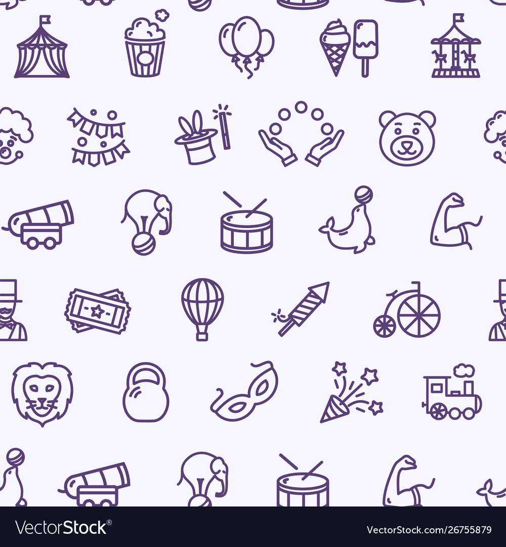 Circus signs seamless pattern background on a