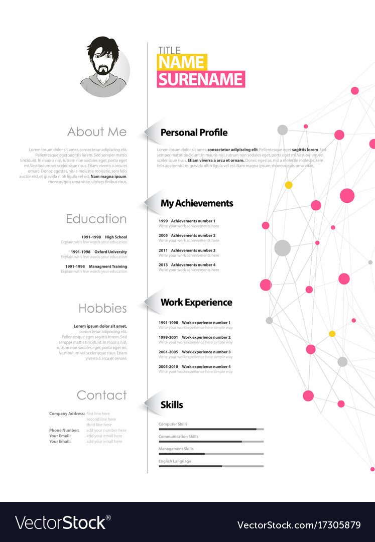 creative simple cv template with yellow and pink vector image
