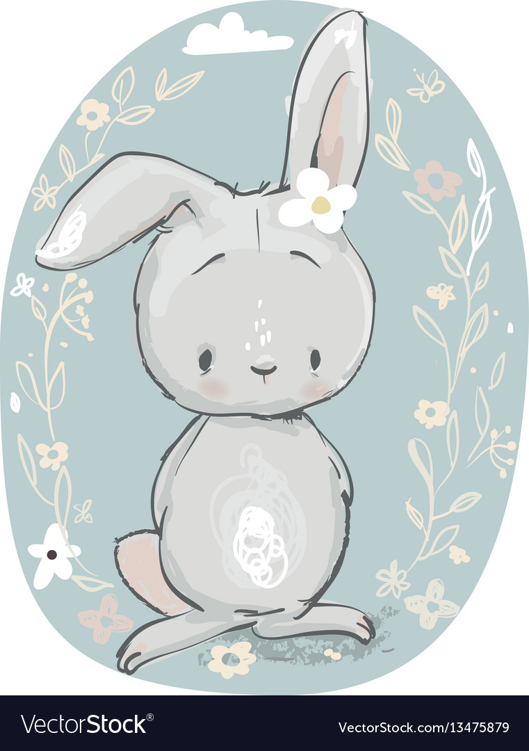 Cute cartoon hare