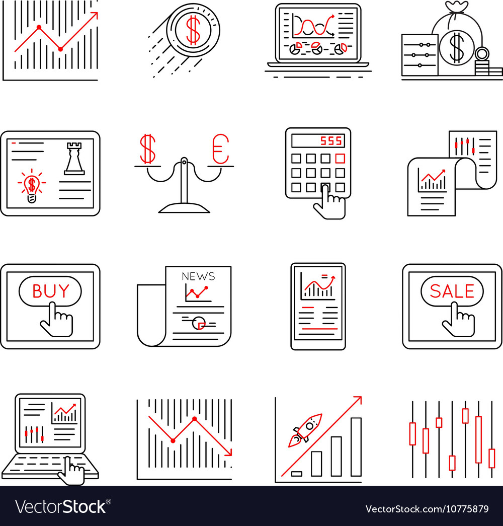 Finance and stock line icons investment strategy