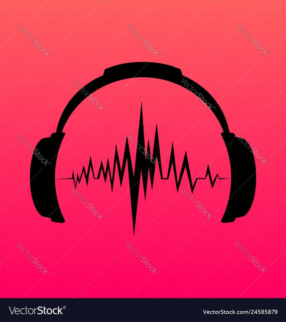 Headphones icon with sound wave beats