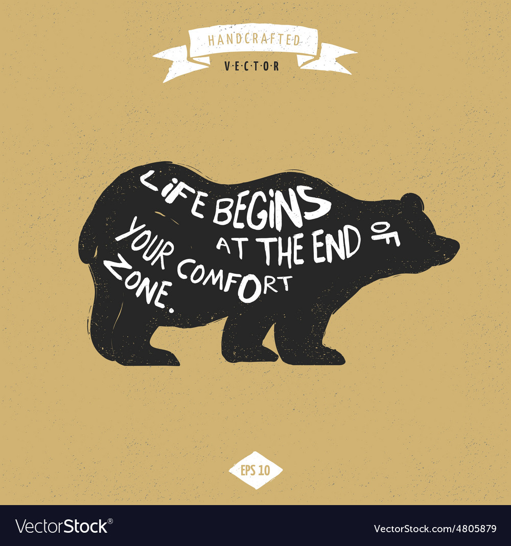 Inspiration Quote Hipster Design Label Bear Vector Image