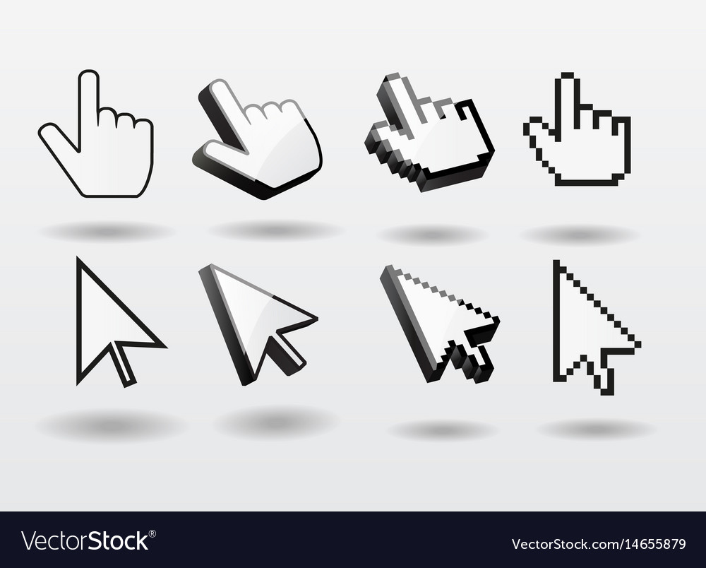 Mouse pointer set computer cursor icon finger vector image