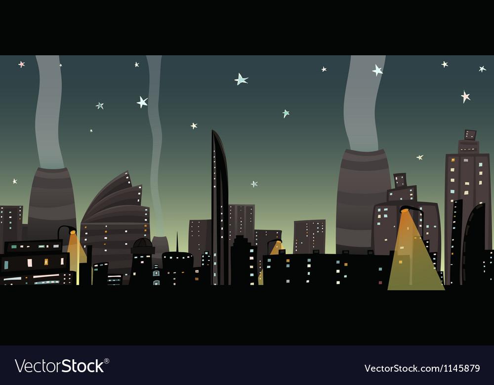 Night City Landscape Cartoon