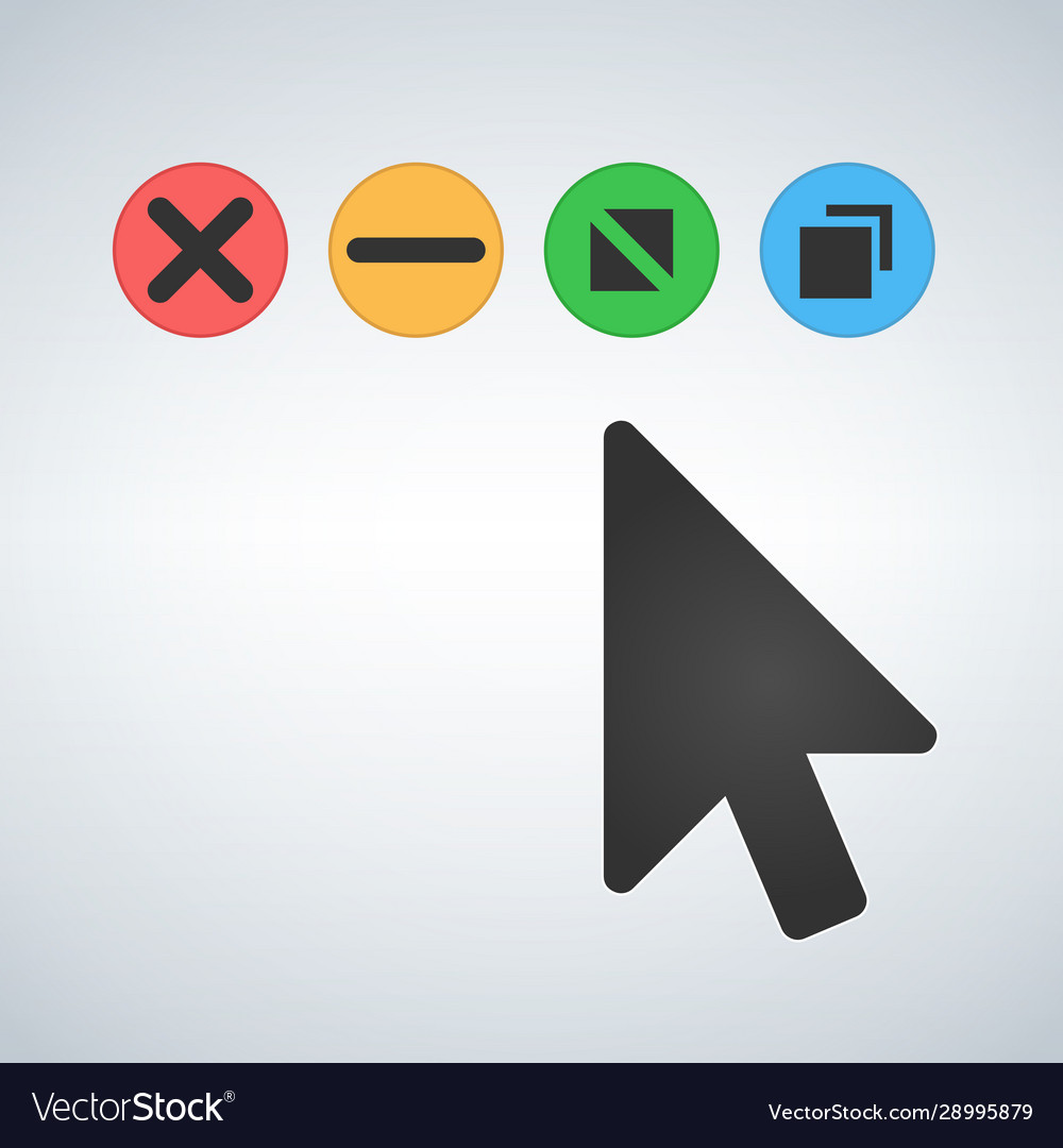 Os or web multicolor buttons with mouse cursor