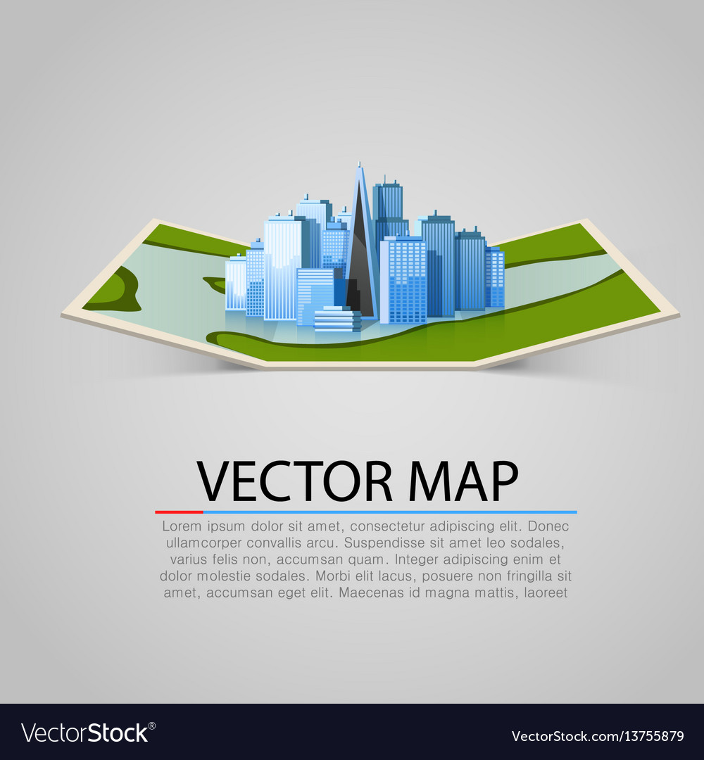 Paper map sign with modern city vector image