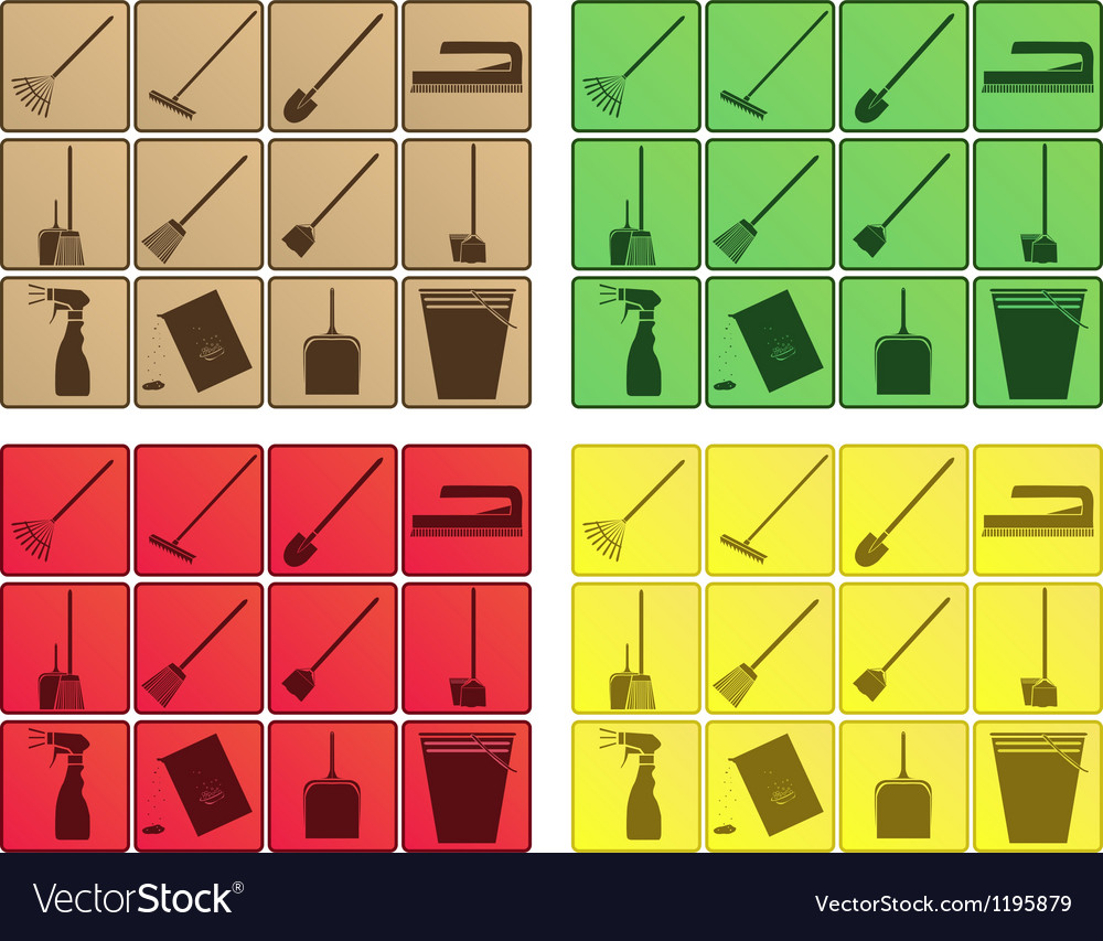 Set of cleaning icons vector image