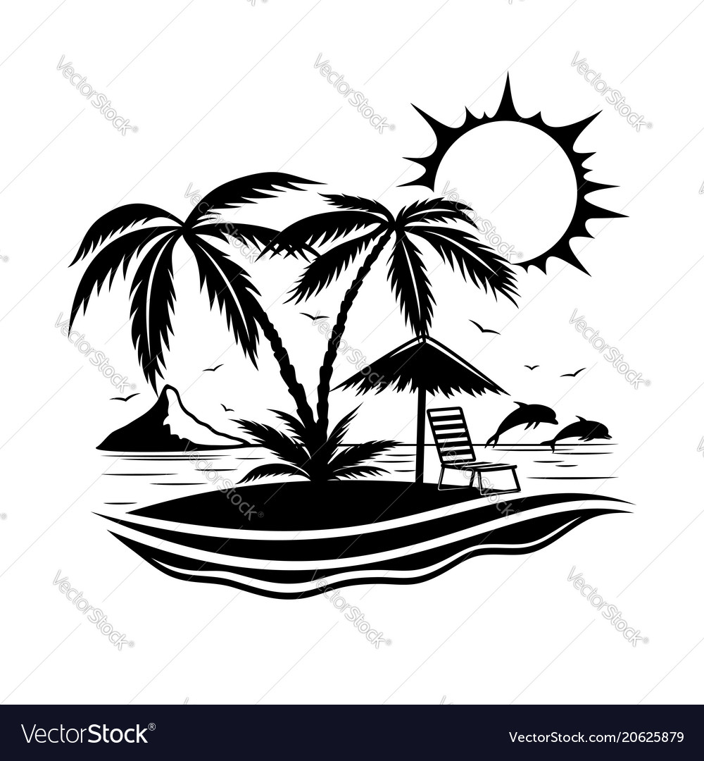 Sign of a tropical beach with palm trees