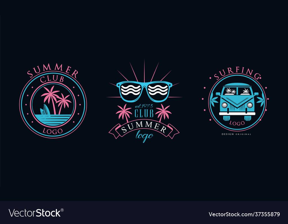 Summer club logo original design set surfing club