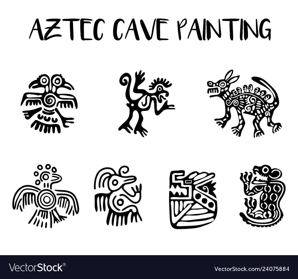 Aztec cave painting elements set
