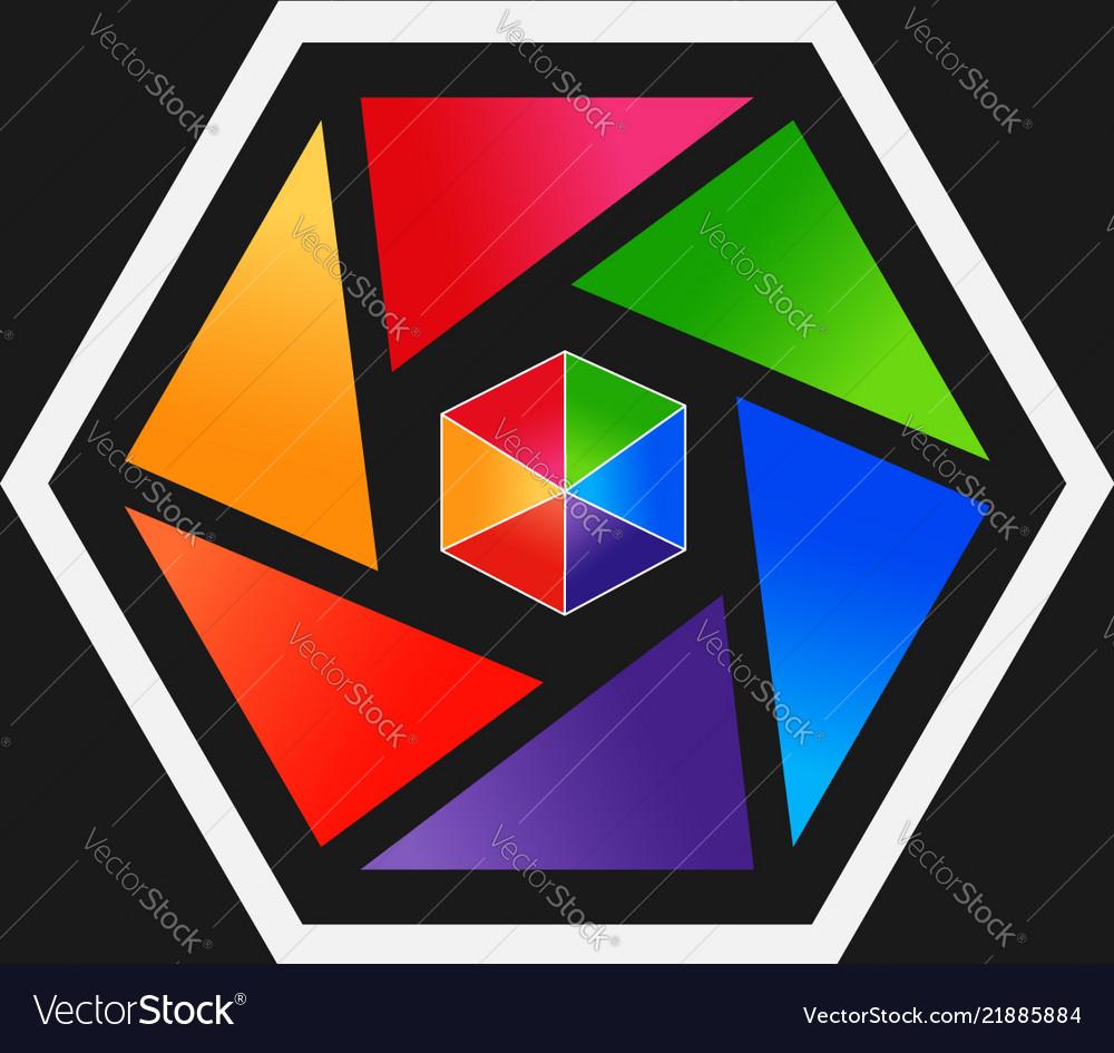 Colorful abstract hexagon shape logo