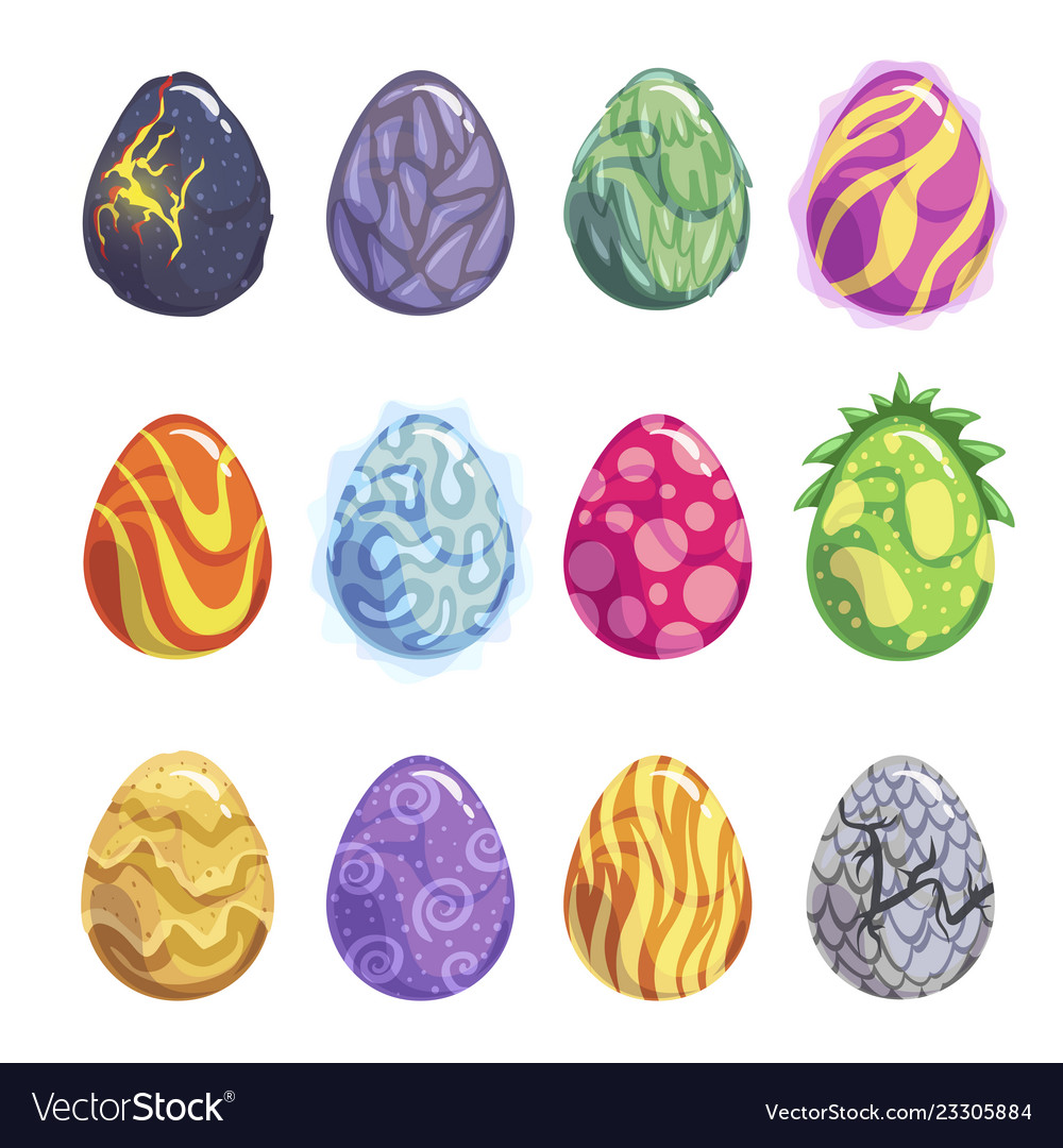 Eggs fantasy dragon or dinosaur bright set