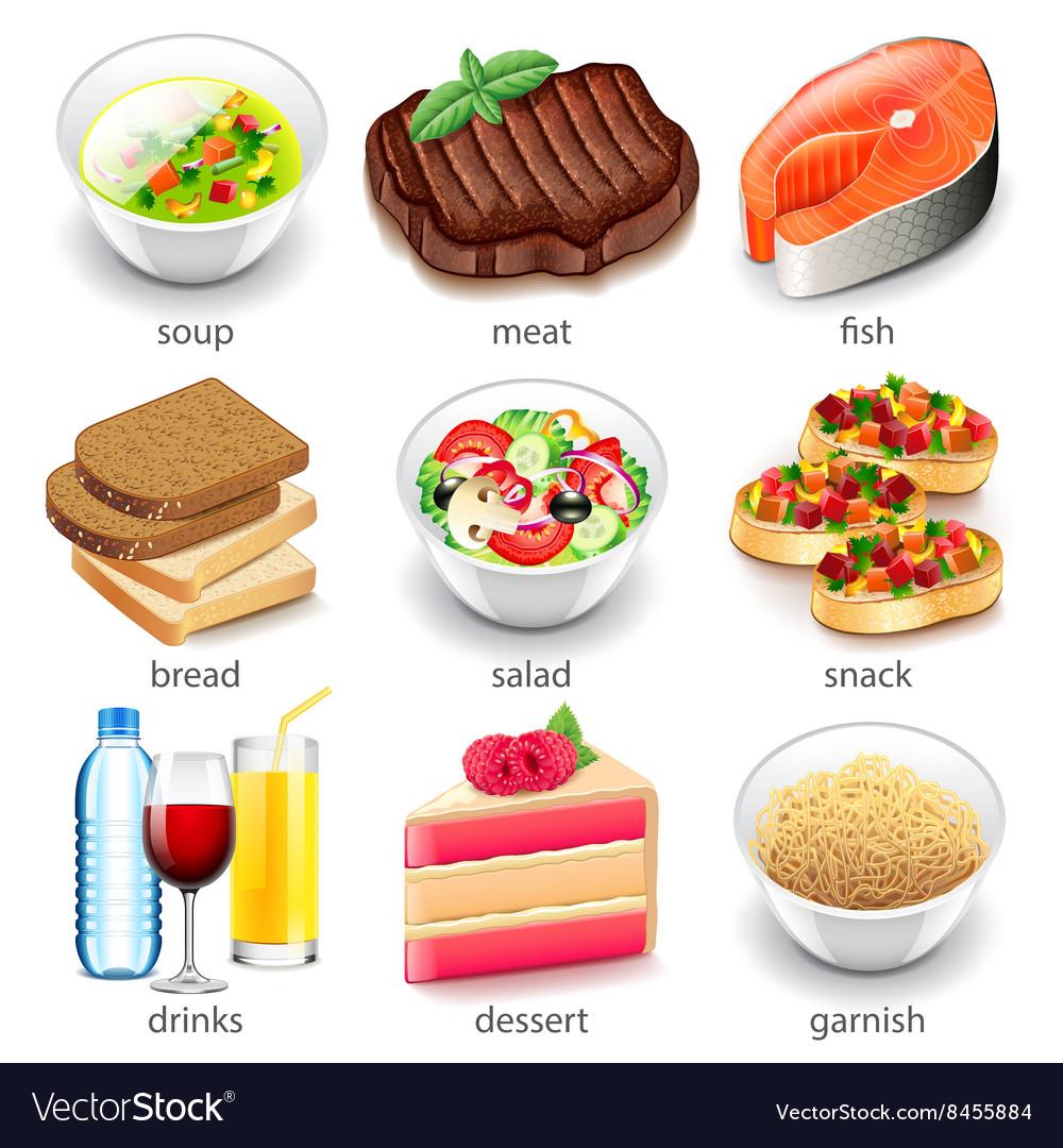 Food types icons set