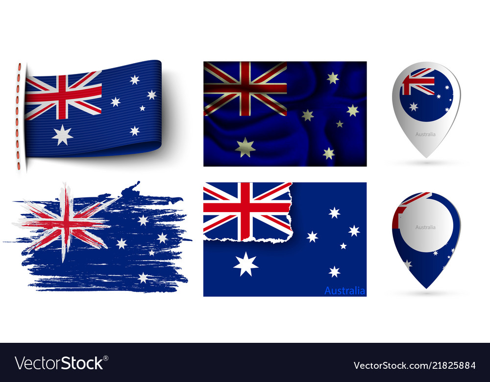 Set of australia flags collection isolated