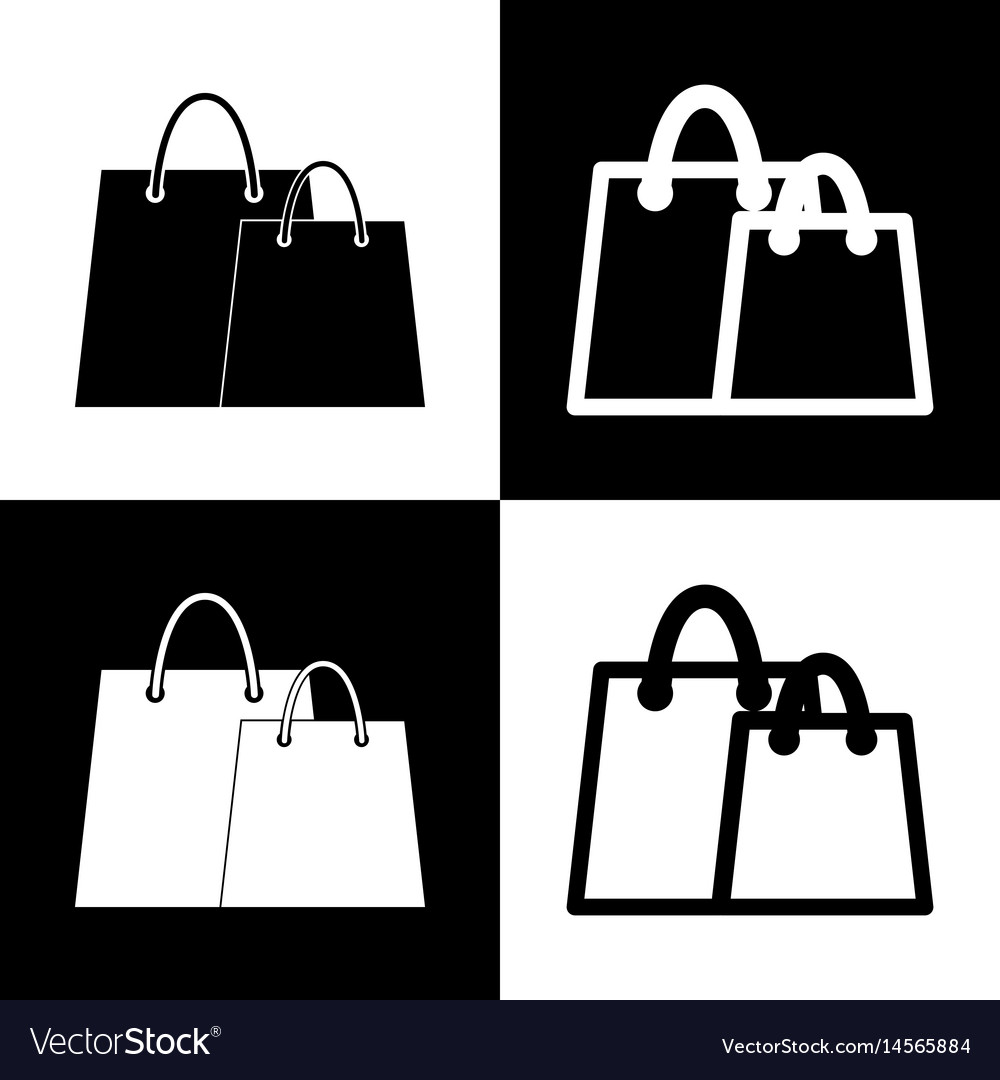 Shopping Bags Sign Black And White Icons Vector Image