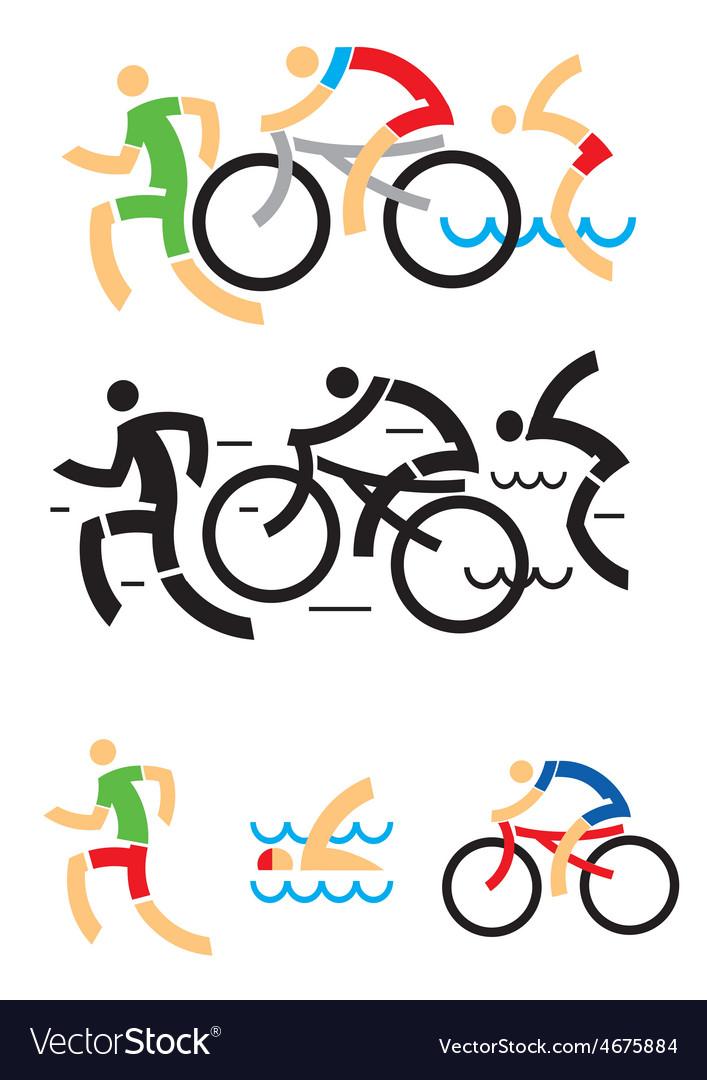 Triathlon cycling swimming symbols vector image