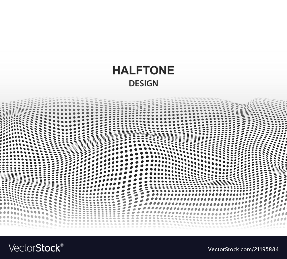 Wave mesh with connected black dots