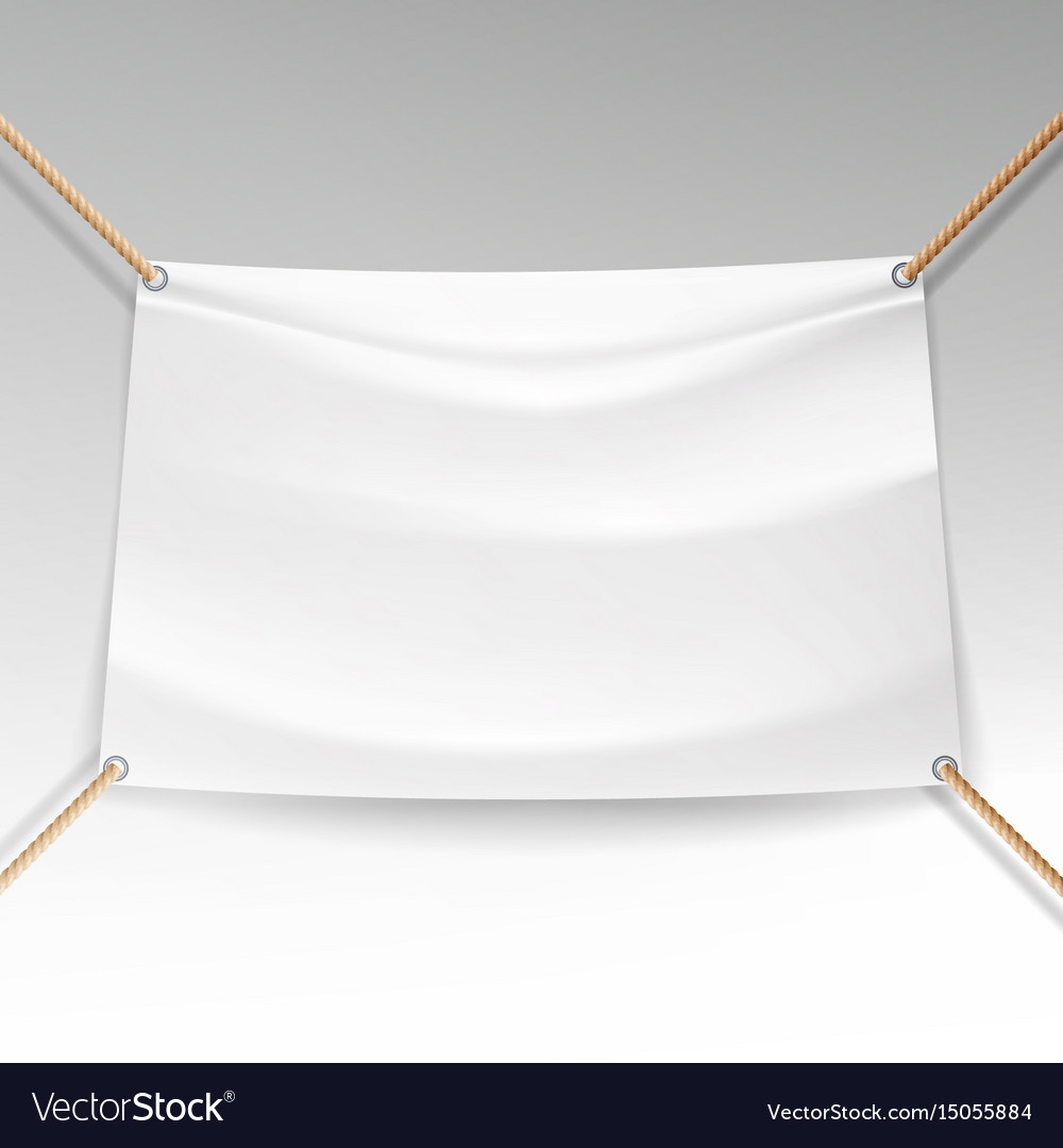 White banner with ropes empty textile
