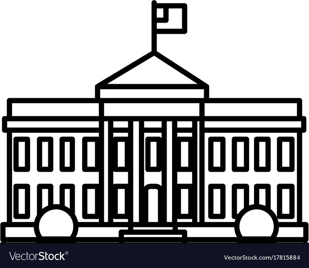 white house in usa line icon sign royalty free vector image