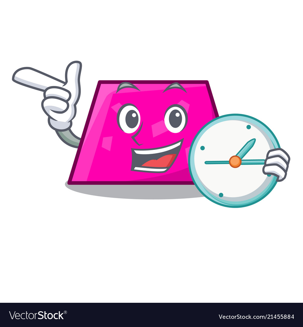 With clock trapezoid character cartoon style