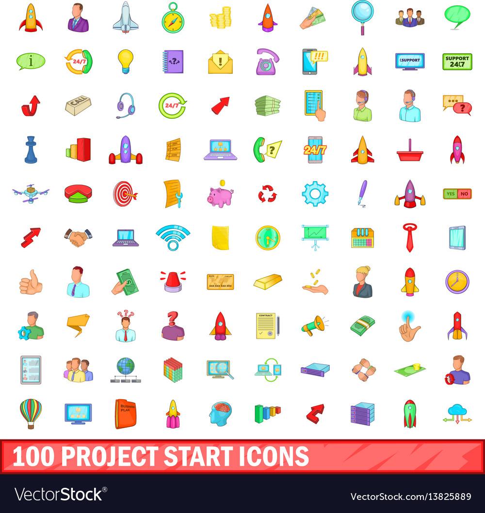 100 project start icons set cartoon style