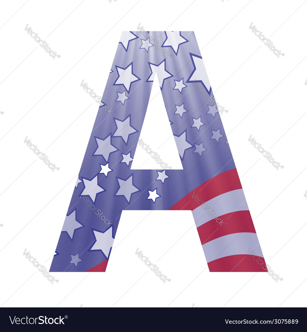American flag letter A vector image