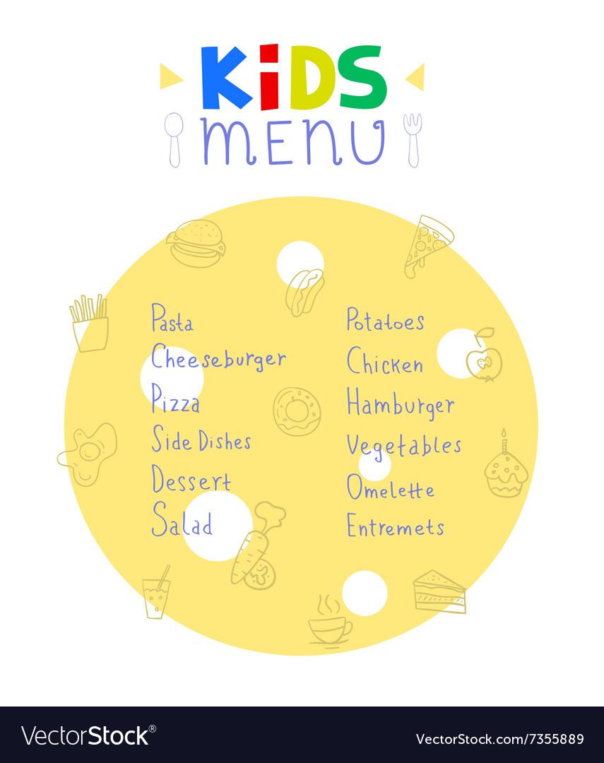 Colorful kids meal menu design template