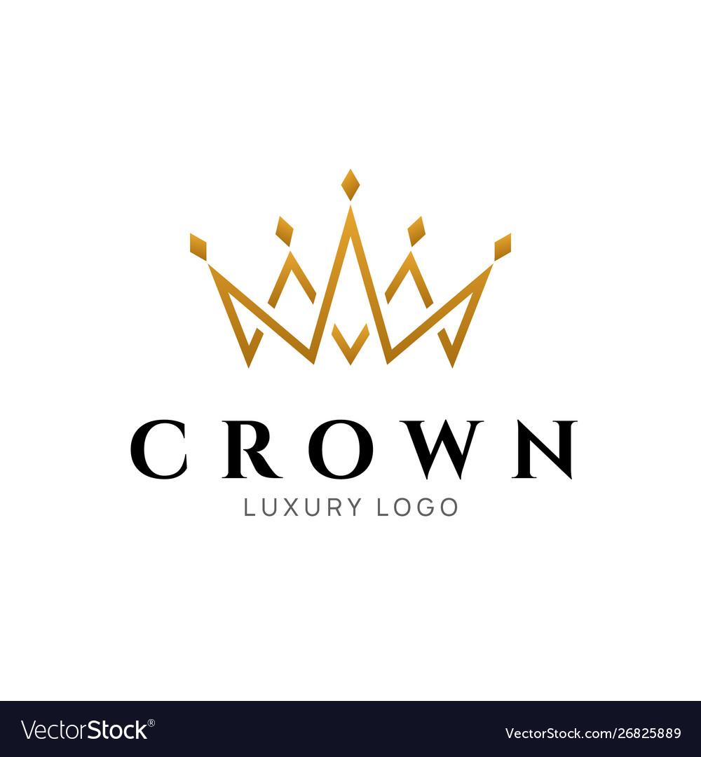 Crown logo king royal icon queen logotype